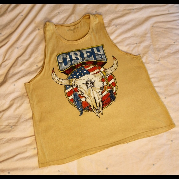 Obey Tops - Mustard Yellow Obey Tank